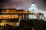 RUSSIA, Moscow. RUSSIA, Moscow. Night view of Bar Strelka and the Cathedral of Christ the Saviour located by the Moscow River.