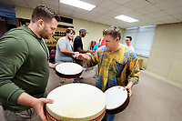 Robert Damm, right, a professor in Mississippi State's Department of Music, instructs Matt Hines, an MSU music education graduate student from Bentonia, during a summer school class on world drumming. The class is an introduction to drum techniques, traditional rhythms, performance practices, ensemble organization and musical concepts of selected world drumming traditions.<br />