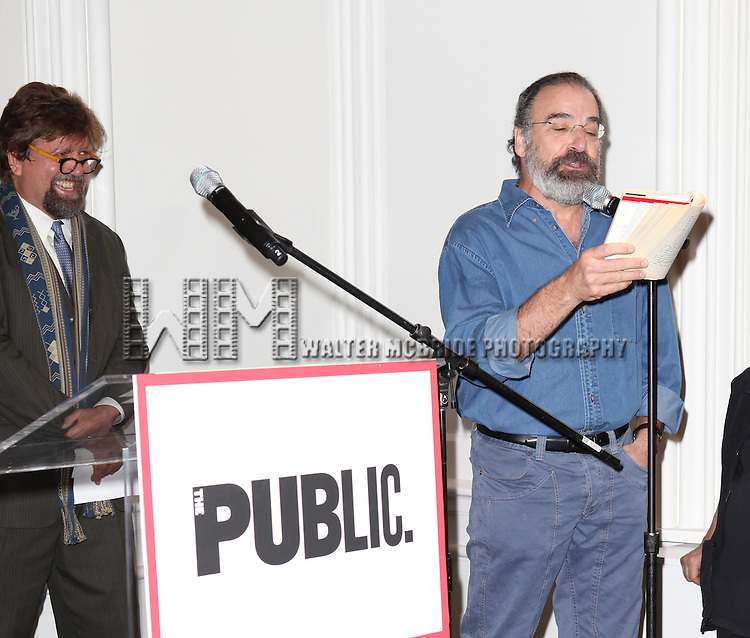 Oskar Eustis and Mandy Patinkin attending the Unveiling of the Revitalized Public Theater at Astor Place in New York City on 10/4/2012.