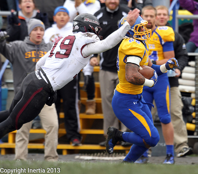 BROOKINGS, SD - OCTOBER 5:  Charles Elmore #29 from South Dakota State University returns an interception 89 yards past Kory Faulkner #19 from Southern Illinois in the second quarter Saturday afternoon at Coughlin Alumni Stadium in Brookings for a touchdown. (Photo by Dave Eggen/Inertia)