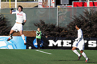 Maryland's Marc Burch (left) celebrates the game's only goal, which he scored in the 31st minute on a free kick. The University of Maryland defeated the University of New Mexico 1-0 in the NCAA Final at SAS Stadium in Cary, North Carolina, Sunday, December 11, 2005.