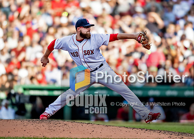 Jun 22, 2019; Boston, MA, USA; Boston Red Sox pitcher Mike Shawaryn on the mound in the 7th inning against the Toronto Blue Jays at Fenway Park. Mandatory Credit: Ed Wolfstein-USA TODAY Sports