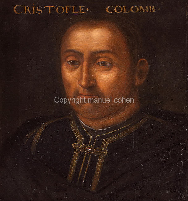 Portrait of Christopher Columbus, 1451-1506, Italian explorer, in the Galerie des Illustres or Gallery of Portraits, early 17th century, in the Chateau de Beauregard, a Renaissance chateau in the Loire Valley, built c. 1545 under Jean du Thiers and further developed after 1617 by Paul Ardier, Comptroller of Wars and Treasurer, in Cellettes, Loir-et-Cher, Centre, France. The Gallery of Portraits is a 26m long room with lapis lazuli ceiling, Delftware tiled floor and decorated with 327 portraits of important European figures living 1328-1643, in the times of Henri III, Henri IV and Louis XIII. The chateau is listed as a historic monument. Picture by Manuel Cohen