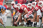Wisconsin Badgers offense lines up during an NCAA college football game against the San Jose State Spartans on September 11, 2010 at Camp Randall Stadium in Madison, Wisconsin. The Badgers beat San Jose State 27-14. (Photo by David Stluka)
