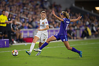 Orlando, FL - Saturday March 24, 2018: Utah Royals defender Katie Bowen (6) plays the ball past Orlando Pride midfielder Dani Weatherholt (17) during a regular season National Women's Soccer League (NWSL) match between the Orlando Pride and the Utah Royals FC at Orlando City Stadium. The game ended in a 1-1 draw.