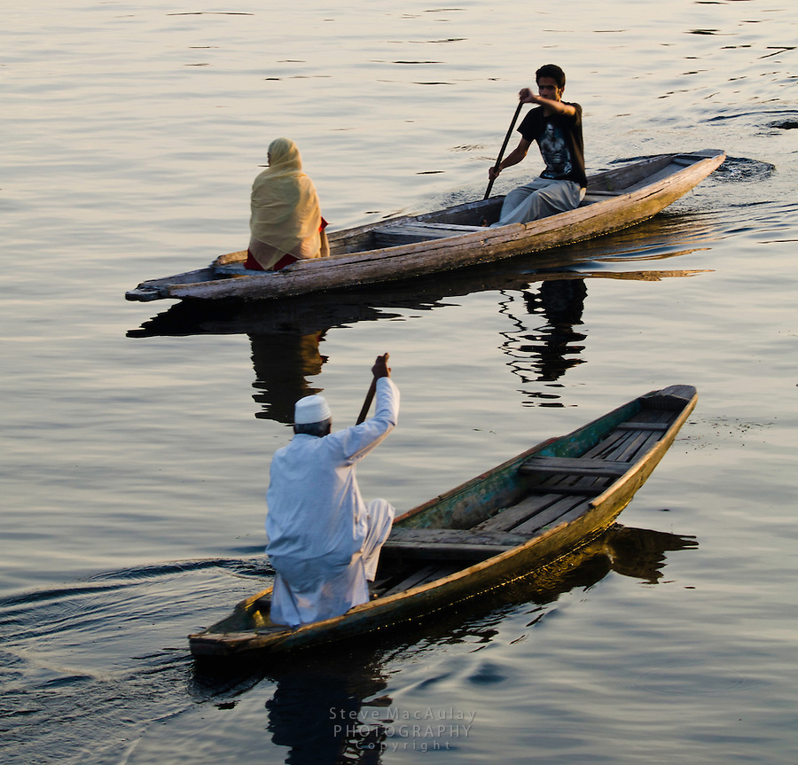 Traditional Kashmiri shikaras, or gondolas, at sunset, Dal Lake, Srinagar, Kashmir, india.