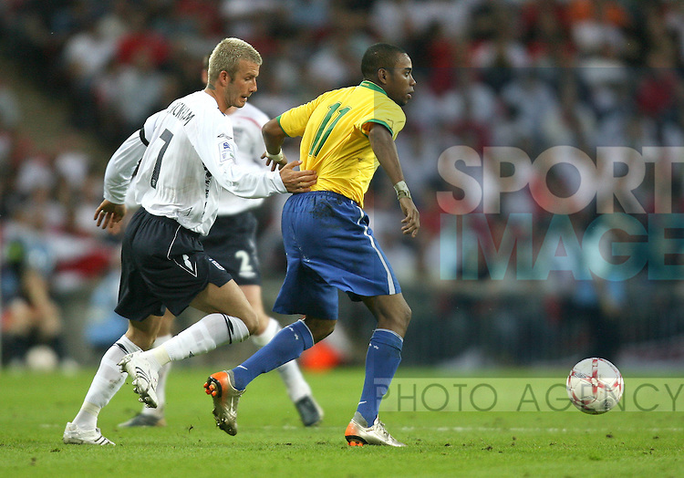 England's David Beckham and Brazil's Robinho..International Friendly..England v Brazil..1st June, 2007..--------------------..Sportimage +44 7980659747..admin@sportimage.co.uk..http://www.sportimage.co.uk/
