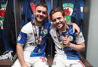 Blackburn Rovers'  Adam Armstrong  and Blackburn Rovers'  Jack Payne <br /> <br /> Photographer Rachel Holborn/CameraSport<br /> <br /> The EFL Sky Bet League One - Blackburn Rovers v Oxford United - Saturday 5th May 2018 - Ewood Park - Blackburn<br /> <br /> World Copyright &copy; 2018 CameraSport. All rights reserved. 43 Linden Ave. Countesthorpe. Leicester. England. LE8 5PG - Tel: +44 (0) 116 277 4147 - admin@camerasport.com - www.camerasport.com