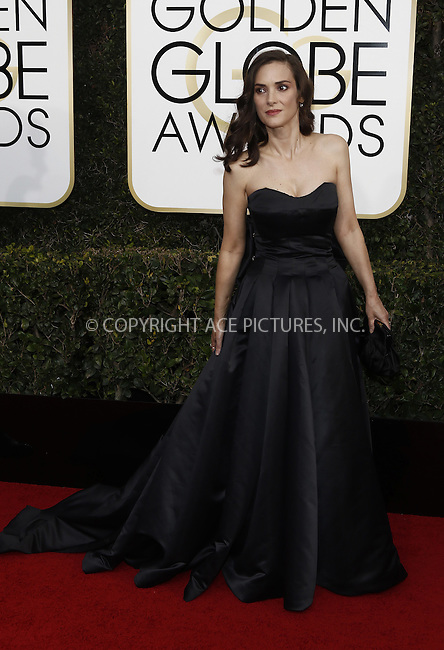 www.acepixs.com<br /> <br /> January 8 2017, LA<br /> <br /> Winona Ryder arriving at the 74th Annual Golden Globe Awards at the Beverly Hilton Hotel on January 8, 2017 in Beverly Hills, California.<br /> <br /> By Line: Famous/ACE Pictures<br /> <br /> <br /> ACE Pictures Inc<br /> Tel: 6467670430<br /> Email: info@acepixs.com<br /> www.acepixs.com