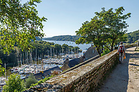 France, Morbihan, La Roche Bernard, view on the yacht harbour from the listed place of Le Rocher // France, Morbihan (56), La Roche-Bernard, vue sur le port et la Vilaine  depuis le site classé du Rocher
