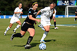 03 DEC 2011: Camelina Puopolo (5) of Saint Rose and Kayla Klosterman (6) of GVSU battle for the ball during the Division II Women's Soccer Championship held at the Ashton Brosnaham Soccer Complex in Pensacola, FL.  Saint Rose defeated Grand Valley State 2-1 to win the national title.  Stephen Nowland/NCAA Photos