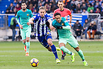 Club Deportivo Alaves'es midfielder Marcos Llorente competes for the ball with FC Barcelona's forward Neymar Santos Jr during the match of La Liga between Deportivo Alaves and Futbol Club Barcelona at Mendizorroza Stadium in Vitoria, Spain. February 11, 2017. (ALTERPHOTOS/Rodrigo Jimenez)