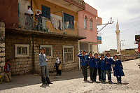 School children line up for a photo in Mardin, southeastern Turkey