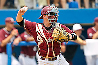 June 11, 2011:    Mississippi State Bulldogs catcher Wes Thigpen (31) throws to second during NCAA Gainesville Super Regional Game 2 action between Florida Gators and Mississippi State Bulldogs played at Alfred A. McKethan Stadium on the campus of Florida University in Gainesville, Florida.   Mississippi State defeated Florida 4-3.........