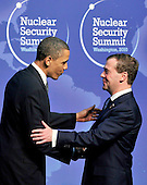 United States President Barack Obama welcomes President Dmitry A. Medvedev of Russia to  the Nuclear Security Summit at the Washington Convention Center, Monday, April 12, 2010 in Washington, DC. .Credit: Ron Sachs / Pool via CNP