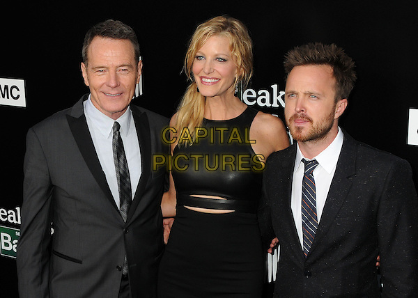 Bryan Cranston, Anna Gunn, Aaron Paul<br /> &quot;Breaking Bad&quot; Final Episodes Los Angeles Premiere Screening held at Sony Pictures Studios, Culver City, California, USA, 24th July 2013.<br /> half length black leather dress hand white shirt grey gray suit tie <br /> CAP/ADM/BP<br /> &copy;Byron Purvis/AdMedia/Capital Pictures