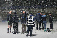 Match referee, Graham Horwood is interviewed on the pitch after the match by local media. The game was abandoned after only twenty two minutes during Wycombe Wanderers vs Macclesfield Town, Coca Cola League Division Two Football at Adams Park on 28th October 2008