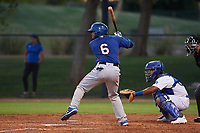 AZL Rangers Reynaldo Pichardo (6) at bat in front of catcher Juan Zabala (60) during an Arizona League game against the AZL Dodgers Mota at Camelback Ranch on June 18, 2019 in Glendale, Arizona. AZL Dodgers Mota defeated AZL Rangers 13-4. (Zachary Lucy/Four Seam Images)