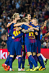 Gerard Deulofeu Lazaro of FC Barcelona celebrates with teammates during the La Liga 2017-18 match between FC Barcelona and Malaga CF at Camp Nou on 21 October 2017 in Barcelona, Spain. Photo by Vicens Gimenez / Power Sport Images