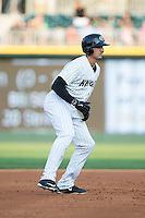 Trayce Thompson (15) of the Charlotte Knights takes his lead off of second base against the Norfolk Tides at BB&T BallPark on July 17, 2015 in Charlotte, North Carolina.  The Knights defeated the Tides 5-4.  (Brian Westerholt/Four Seam Images)