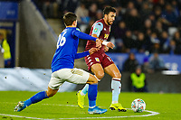 8th January 2020; King Power Stadium, Leicester, Midlands, England; English Football League Cup Football, Carabao Cup, Leicester City versus Aston Villa; Trezeguet  of Aston Villa holds off Dennis Praet of Leicester City - Strictly Editorial Use Only. No use with unauthorized audio, video, data, fixture lists, club/league logos or 'live' services. Online in-match use limited to 120 images, no video emulation. No use in betting, games or single club/league/player publications