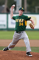 February 21, 2010:  Pitcher CJ Sohl (34) of the Siena Saints during a game at Melching Field at Conrad Park in DeLand, FL.  Siena lost to Stetson by the score of 8-7.  Photo By Mike Janes/Four Seam Images