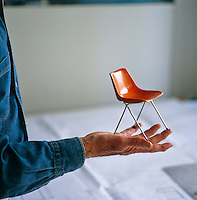 A maquette of Robin Day's Polypropylene chair which he designed in 1963 and which was made in the Furniture Design department and presented to him as a gift from Bucks New University