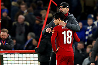 3rd March 2020; Stamford Bridge, London, England; English FA Cup Football, Chelsea versus Liverpool; Liverpool Manager Jurgen Klopp consoles a dejected Takumi Minamino at full time