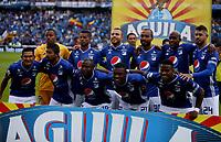 BOGOTÁ-COLOMBIA, 28-04-2019: Jugadores de Millonarios, posan para una foto, antes de partido de la fecha 18 entre Millonarios y Atlético Junior, por la Liga Águila I 2019, jugado en el estadio Nemesio Camacho El Campín de la ciudad de Bogotá. / Players of Millonarios, pose for a photo, prior a match of the 18th date between Millonarios and Atletico Junior, for the Aguila Leguaje I 2019 played at the Nemesio Camacho El Campin Stadium in Bogota city, Photo: VizzorImage / Luis Ramírez / Staff.