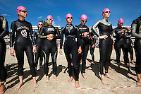 19 SEP 2010 - LA BAULE, FRA - Competitors wait for the start of the womens wave of the Triathlon Courte Distance during the 23rd Triathlon Audencia-La Baule (PHOTO (C) NIGEL FARROW)