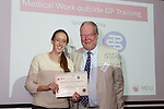 22/07/2015 GP Trainee Awards and Michael Lennard Reception 2015 hosted at The Holiday Inn, Filton, Bristol, by MDU. Dr Sarah Davis (Swindon) is awarded the Medical Work Outside GP Training prize by Robin While on behalf of the BMA.