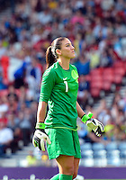 July 25, 2012..Hope Solo (1), USA vs France Football match during 2012 Olympic Games at Hampden Park in Glasgow, England. USA defeat France 4-2 after conceding two goals in the first half of the match...(Credit Image: © Mo Khursheed/TFV Media)