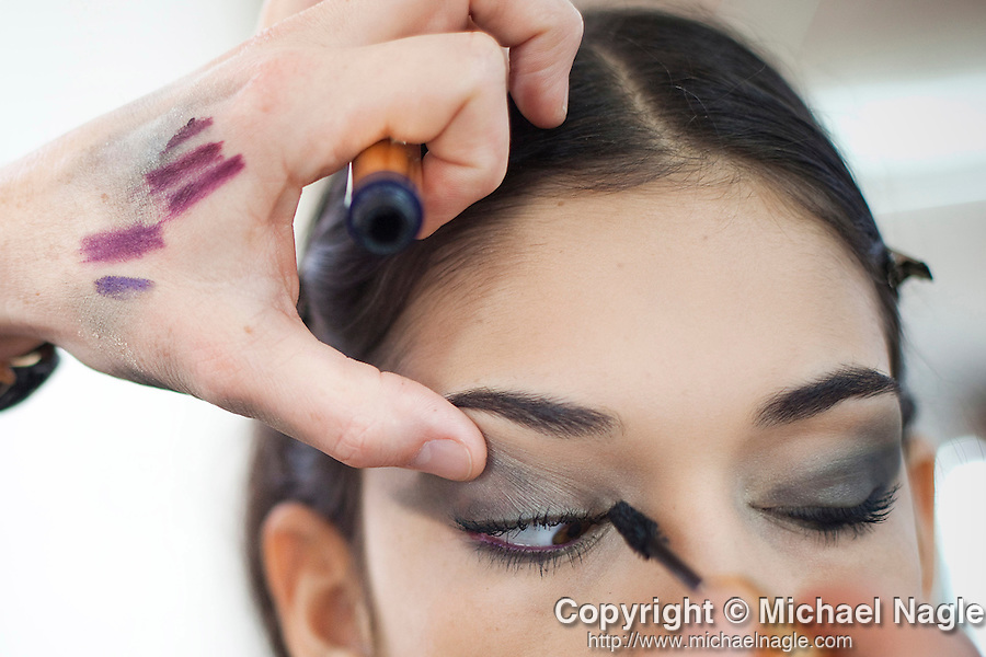 NEW YORK --  FEBRUARY 10, 2011:  Tom Pecheux tests makeup on model Isabella Melo during a test for Joseph Altuzarra during New York Fashion Week on February 10, 2011.  (PHOTOGRAPH BY MICHAEL NAGLE)
