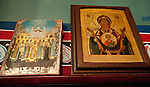 Two ancient icons, with Orthodox church heirarchs and Theotokos (Mother of God and Jesus)