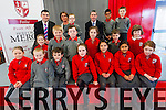 Junior Minister for Education, Damien English, and TD Brendan Griffin with pupils and staff from Mercy National School in Killarney last week. <br /> Front L-R Elsa Vikkerand, Cian Brennan, Diarmuid Warren, Alicia Lee, Kim Fleming, Eana Monsur and Sarah O'Donoghue. <br /> Second Row L-R Mia Twomey, Cormac O'Leary, Colin O'Shea, Emily Szaflik, Daithi O'Sullivan and Sian Freisinger. <br /> Back L-R TD Brendan Griffin, principal Ursula Coffey and Erikas Sedwicki, Junior MInister Damien English, Ebrahim Abu and Eugene Rohan.