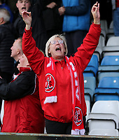 A Fleetwood fan celebrates<br /> <br /> Photographer Rob Newell/CameraSport<br /> <br /> The EFL Sky Bet League One - Gillingham v Fleetwood Town - Saturday 22nd April 2017 - MEMS Priestfield Stadium - Gillingham<br /> <br /> World Copyright &not;&copy; 2017 CameraSport. All rights reserved. 43 Linden Ave. Countesthorpe. Leicester. England. LE8 5PG - Tel: +44 (0) 116 277 4147 - admin@camerasport.com - www.camerasport.com