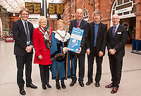 Pictured at the launch of the new Castle Line Timetable at Nottingham Station, from left are Keith Laird, Head of Business Development, Experience Nottingham, Sandra Littlewood, Sheriff's Lady, the Sheriff of Nottingham Cllr Jackie Morris, Cllr Steve Calvert of Notts County Council, Jim Bamford, Rail Manager for Notts County Council and Simon Taylor, Head of Network Development, East Midlands Trains