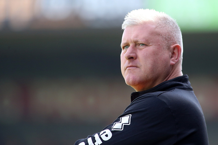 Blackpool's Manager Terry McPhillips looks on during the match<br /> <br /> Photographer David Shipman/CameraSport<br /> <br /> The EFL Sky Bet League One - Scunthorpe United v Blackpool - Friday 19th April 2019 - Glanford Park - Scunthorpe<br /> <br /> World Copyright © 2019 CameraSport. All rights reserved. 43 Linden Ave. Countesthorpe. Leicester. England. LE8 5PG - Tel: +44 (0) 116 277 4147 - admin@camerasport.com - www.camerasport.com