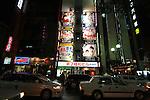 Sapporo &egrave; la citt&agrave; pi&ugrave; importante dell'isola di Hokkaido. E' una tipica citt&agrave; giapponese moderna. Nella foto una veduta notturna del quartiere di Susukino il quartire dei divertimenti e soprattutto dei locali a luci rosse. Nella foto le insegne di uno di questi locali con indicate le prestazioni offerte. Una diversa per piano<br /> &copy; Paolo della Corte
