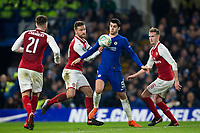 Chelsea's Alvaro Morata holds off the challenge from Arsenal's Shkodran Mustafi <br /> <br /> Photographer Craig Mercer/CameraSport<br /> <br /> The Carabao Cup - Semi-Final 1st Leg - Chelsea v Arsenal - Wednesday 10th January 2018 - Stamford Bridge - London<br />  <br /> World Copyright &copy; 2018 CameraSport. All rights reserved. 43 Linden Ave. Countesthorpe. Leicester. England. LE8 5PG - Tel: +44 (0) 116 277 4147 - admin@camerasport.com - www.camerasport.com