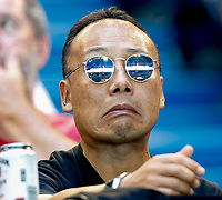 8th January 2020; RAC Arena, Perth, Western Australia; ATP Cup Australia, Perth, Day 6; Spain versus Japan; a member of the crowd watches the tennis match between Japan and Spain - Editorial Use