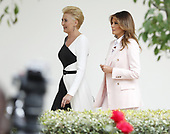 Polish First Lady Agata Kornhauser-Duda (L) and First Lady Melania Trump  walk along the Colonnade at the White House in Washington, DC, USA, 12 June 2019. During the visit President Trump and President Duda will participate in a signing ceremony to increase military to military cooperation including the purchase of F-35 fighter jets and an increased US troop presence in Poland. <br /> Credit: Shawn Thew / Pool via CNP
