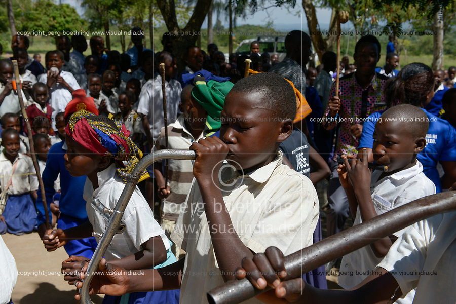 TANZANIA, Tarime , village Mtana, Primary School, music performance with self built flute from a old bicycle steering gear