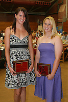 "STANFORD, CA - June 12:  Julia Smit and Rosey Neill accept their Block ""S"" Outstanding Female Sophomore awards during the 2008 Athletic Board Award Luncheon at the Ford Center in Stanford, California."
