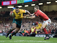 Australia's Samu Kerevi under pressure from Wales' Liam Williams<br /> <br /> Photographer Simon King/CameraSport<br /> <br /> International Rugby Union - 2017 Under Armour Series Autumn Internationals - Wales v Australia - Saturday 11th November 2017 - Principality Stadium - Cardiff<br /> <br /> World Copyright &copy; 2017 CameraSport. All rights reserved. 43 Linden Ave. Countesthorpe. Leicester. England. LE8 5PG - Tel: +44 (0) 116 277 4147 - admin@camerasport.com - www.camerasport.com