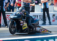 Oct 14, 2019; Concord, NC, USA; NHRA pro stock motorcycle rider Karen Stoffer during the Carolina Nationals at zMax Dragway. Mandatory Credit: Mark J. Rebilas-USA TODAY Sports