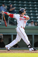 Outfielder Jose Colorado (51) of the Greenville Drive bats in a game against the Delmarva Shorebirds on Monday, April 29, 2013, at Fluor Field at the West End in Greenville, South Carolina. Delmarva won, 6-5 in game one of a doubleheader. (Tom Priddy/Four Seam Images)