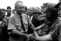 President Lyndon B. Johnson greets American troops in Vietnam, 1966.  (USIA)<br /> EXACT DATE SHOT UNKNOWN<br /> NARA FILE #:  306-SSM-8H-SVN-2-21<br /> WAR & CONFLICT BOOK #:  395