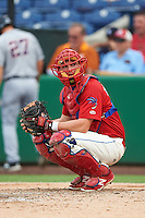 Clearwater Threshers catcher Austin Bossart (8) during a game against the Lakeland Flying Tigers on August 5, 2016 at Bright House Field in Clearwater, Florida.  Clearwater defeated Lakeland 3-2.  (Mike Janes/Four Seam Images)