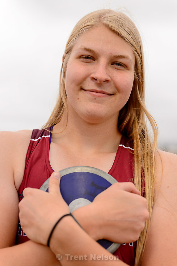 Trent Nelson  |  The Salt Lake Tribune<br /> Amarissa Hawker throws discus and shot put for Herriman High, Wednesday April 8, 2015.